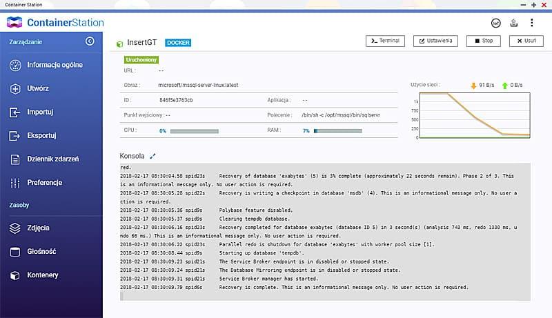 Qnap Container Station - konfiguracja MS SQL dla Subiekta GT lub NEXO