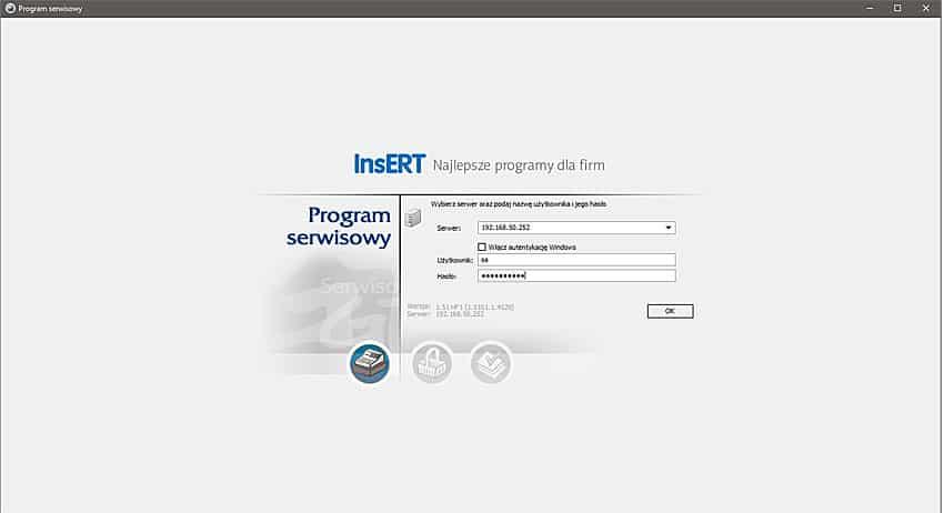 Program serwisowy Insert GT zainstalowany na serwerze NAS QNAP